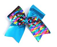Multi-Colored and Turquoise Sequin Cheer Bow