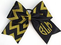 Custom Two Colored Circle Monogrammed Personalized Chevron Glitter Cheer Bow