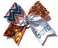 Reversible Sequin Personalized Cheveron Cheer Bow