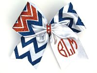 3 Colored Circle Personalized Monogrammed Chevron Cheer Hair Bow