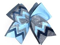 Custom Chevron 3 Colored Shimmer Sparkle Cheer Hair Bow