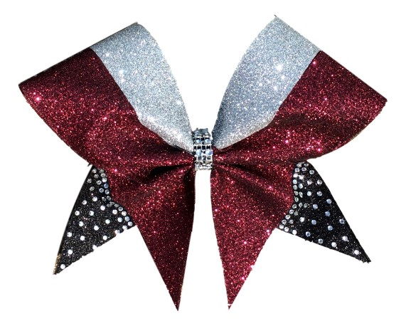 Three Color Razzle Dazzle Rhinestone Tail Cheer Bow