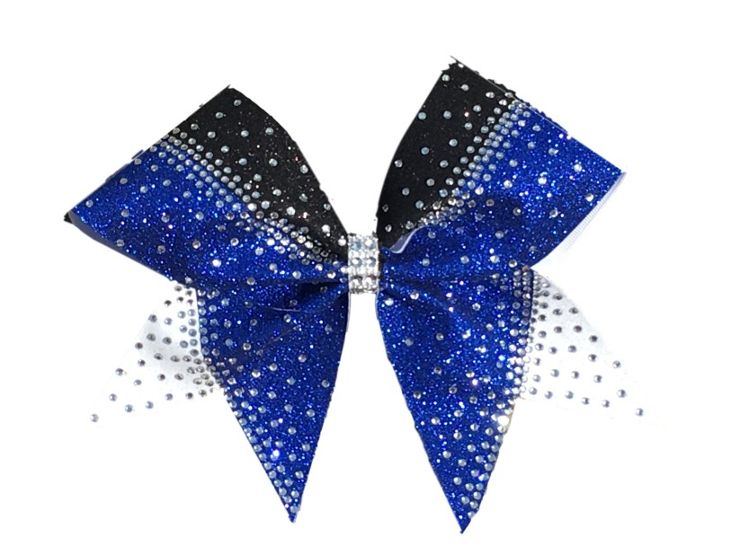 Razzle Dazzle Three Colored Rhinestone Cheer Bow