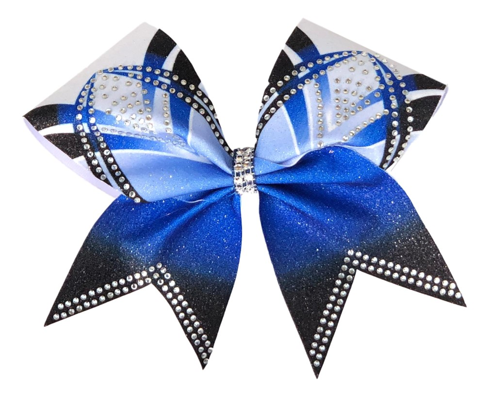 Rhinestone Royal Blue, Black, and White Arch Bow