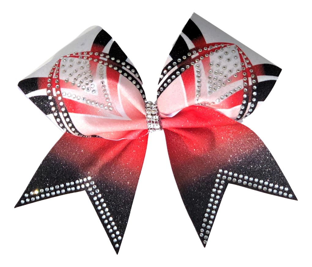 Rhinestone Red, Black, and White Arch Bow