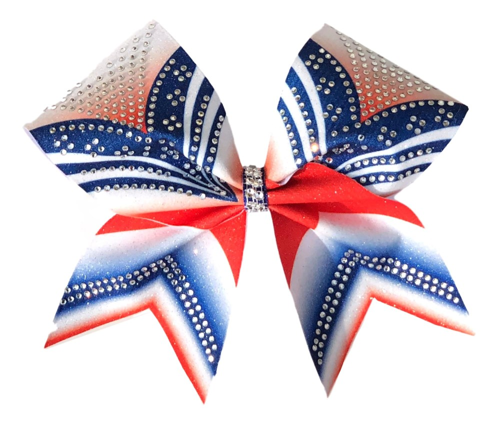 "Red White and Blue Rhinestone ""V"" Bow"