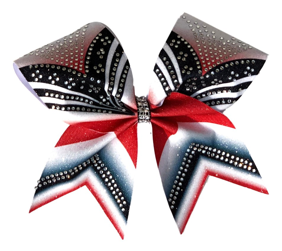 "Red White and Black Rhinestone ""V"" Cheer Bow"