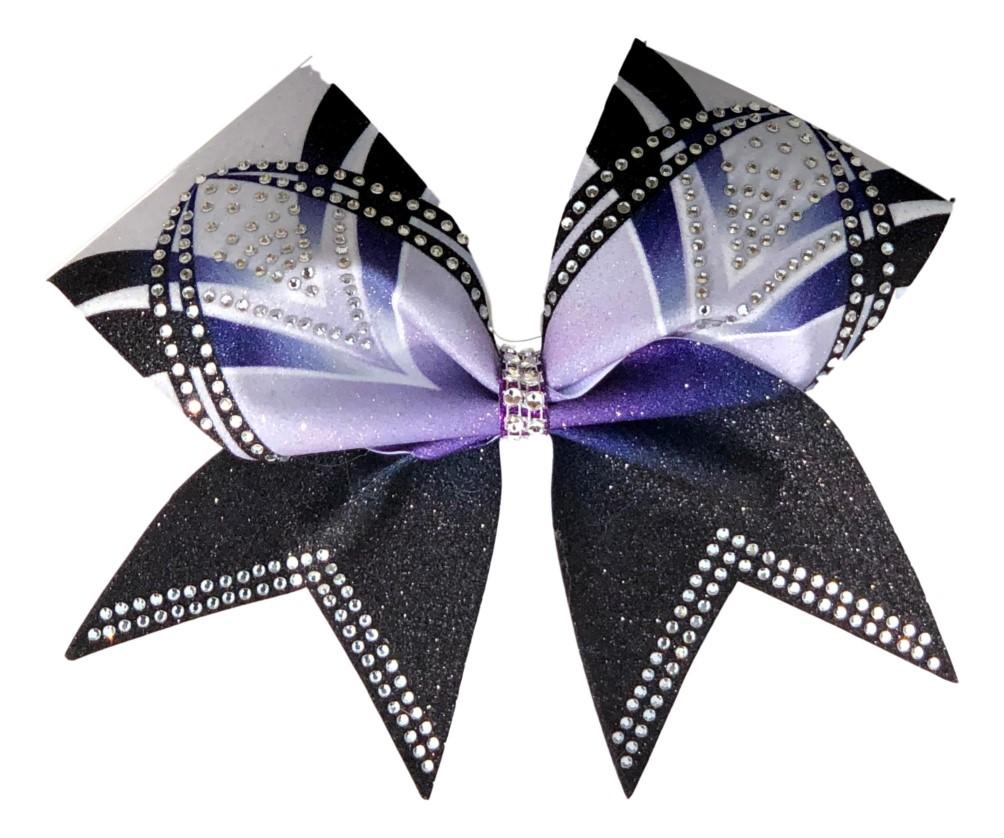 Rhinestone Purple, Black, and White Arch Bow