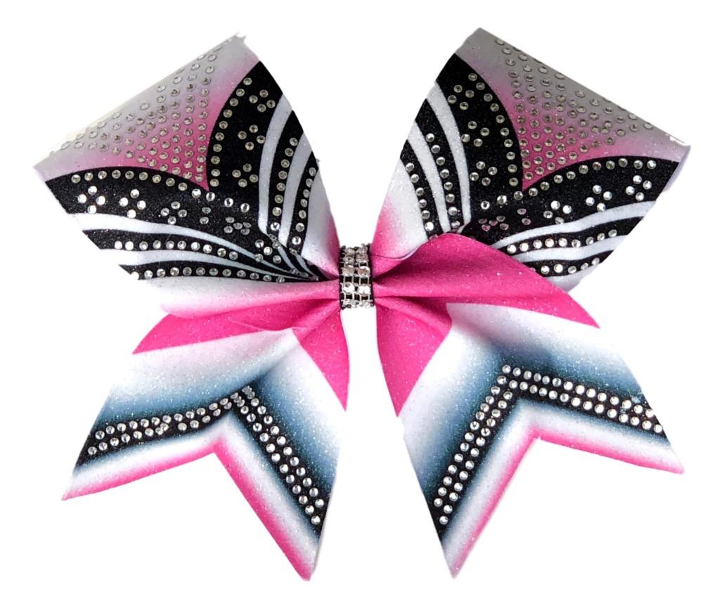 "Rhinestone Pink Black and White ""V"" Bow"