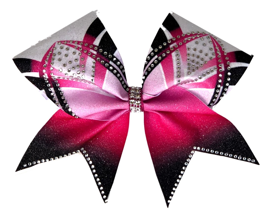 Rhinestone Pink, Black, and White Arch Bow