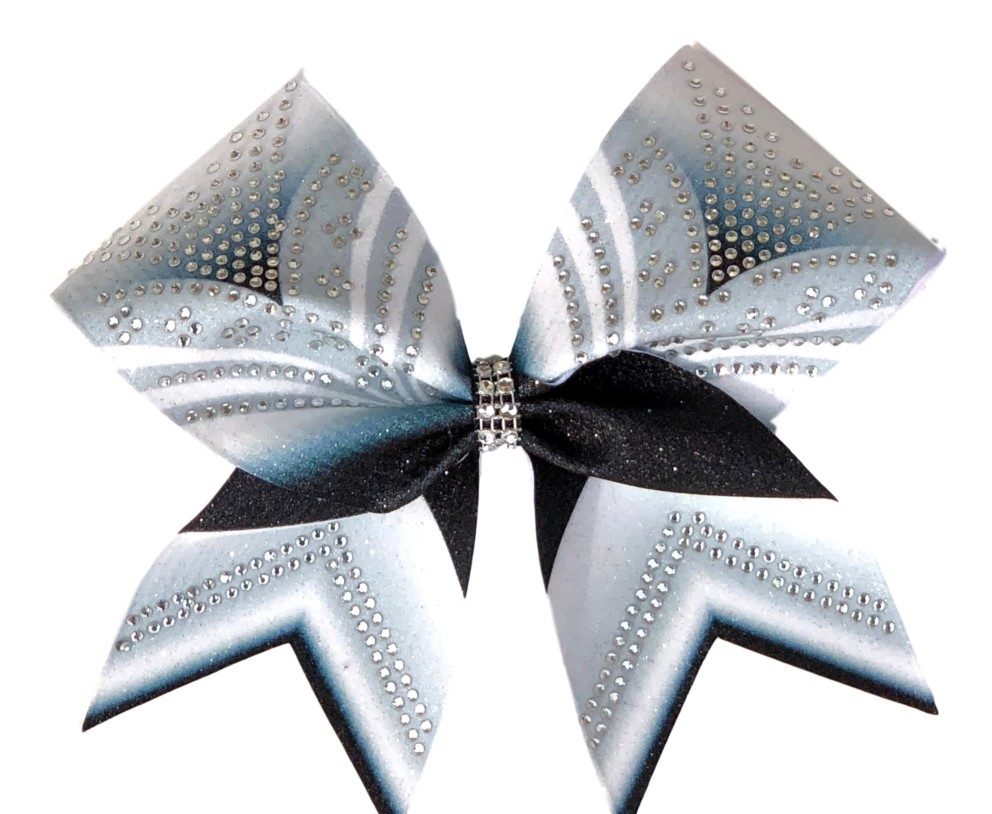 "Silver Black and White ""V"" Bow"