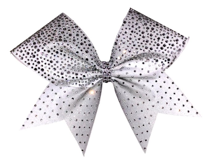 Rhinestone Sublimated Silver and White Ombre Cheer Bow