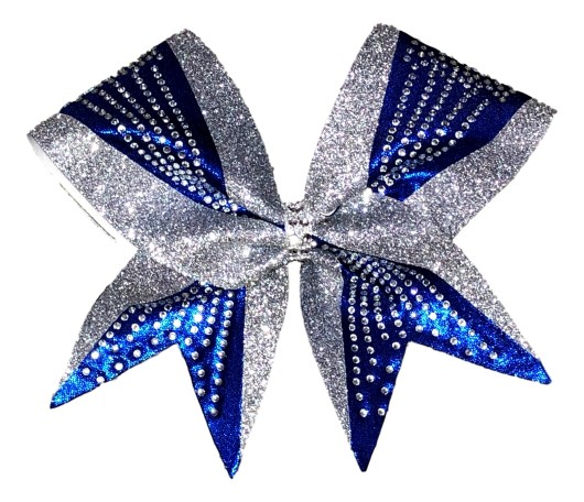 Elegant Silver and Royal Blue Rhinestone Cheer Bow
