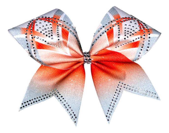 Rhinestone Orange, Silver, and White Arch Bow