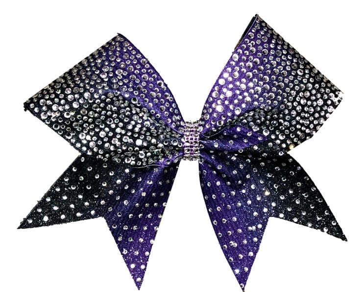 Rhinestone Sublimated Purple and Black Ombre Cheer Bow