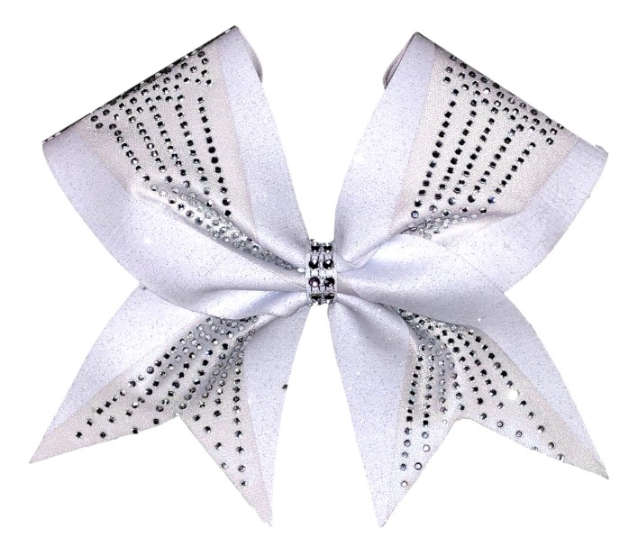 Elegant White Rhinestone Cheer Bow