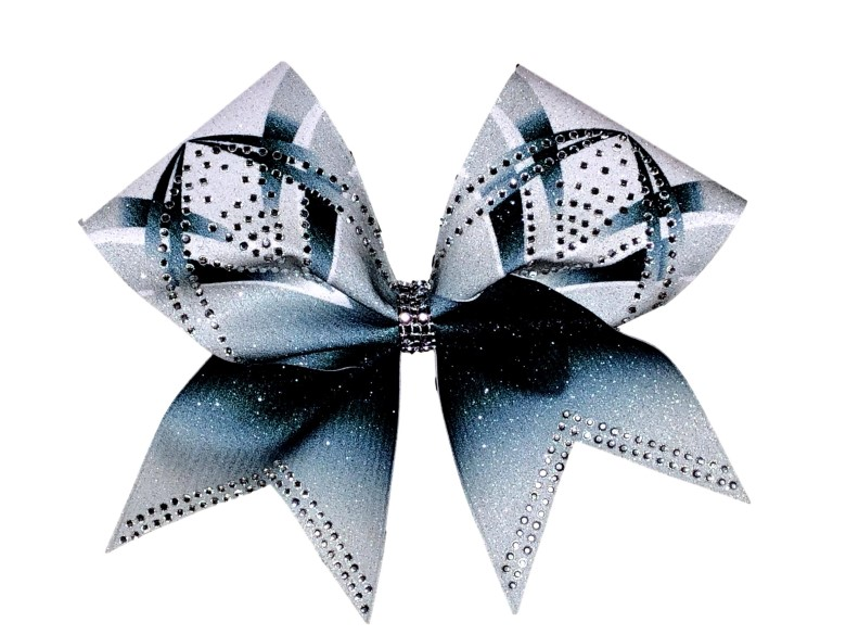 Rhinestone Gray, Black, and White Arch Bow