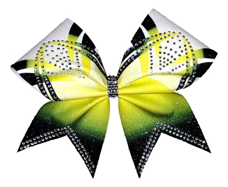 Rhinestone Yellow, Black, and White Arch Bow