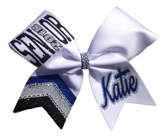 Three Colored Senior Glitter Cheer Jeweled Tailed Cheer Bow