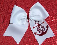 Custom Circle Embroidered Personalized Glitter Anchor Cheer Hair Bow