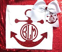 Big Custom Glitter Personalized Embroidered Anchor Short Sleeve Shirt