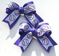 Baseball Small 2 Loop Hair Bow