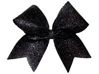 Super Sparkle Black Glitter Cheer Bow
