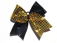 Black and Gold Silver Square Sequin Cheer Bow