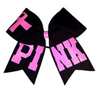 Pink Breast Cancer Awareness Cheer Hair Bow in Black