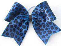 Blue Leopard Sparkle Cheer Bow