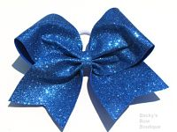 Super Sparkle Blue Glitter Cheer Bow