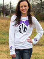 Bow Shirt With Personalized Monogram In Front and on Sleeves