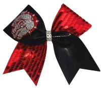Red Black and Silver Bulldog Cheer Bow