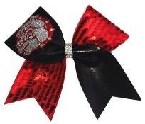 Red Black and Silver Bulldog Cheer Bow