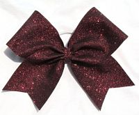 Super Sparkle Burgundy Glitter Cheer Bow