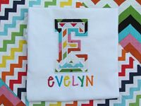Colorful Chevron Varsity Letter Appliqued Name