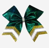 Jeweled Tailed Solid Mystique and Glitter Cheer Bow