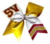 Non-Glitter Jeweled Tail Team Cheer Bow