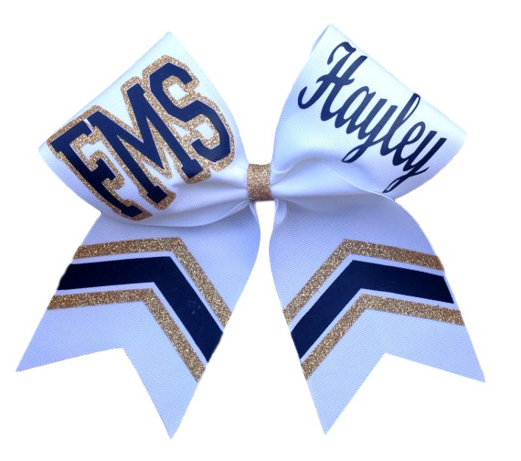 a58e089112ce Custom Personalized Glitter and Nonglitter Chevron Cheer Bow