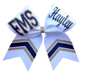 Custom Personalized Glitter and Nonglitter Chevron Cheer Bow
