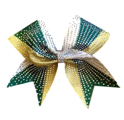 Forest Green and Gold Rhinestone Sublimation Bow