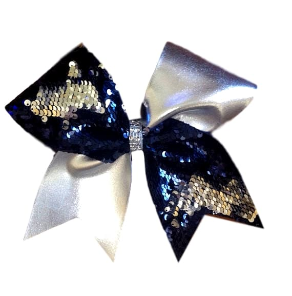 Half Navy and Silver Reversible Sequin and Half Silver