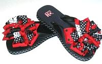 Red White and Black Layered Korker Flip Flops