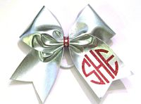Metallic Circle Monogrammed Cheer Bow