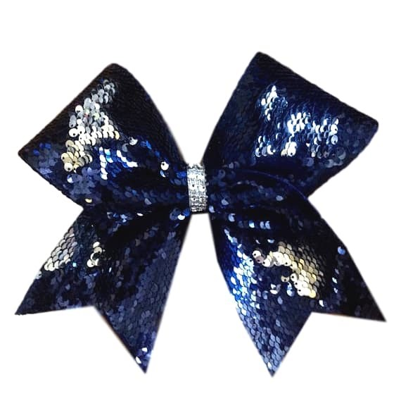 Navy and Silver Reversible Sequin Cheer Bow