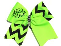 Custom Personalized Monogrammed Chevron Glitter Cheer Bow
