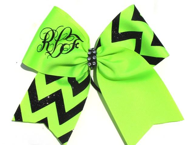 Yellow and Apple Green Monogram Hair Bow