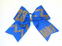 Chevron Personalized with Number and Name Cheer or Softball Bow