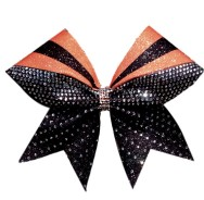 Orange and Black Rhinestone Sublimation Bow
