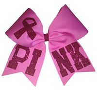 PINK Breast Cancer Awareness Cheer Hair Bow